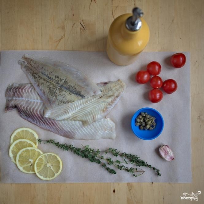 Рецепт Белая рыба в конверте с каперсами