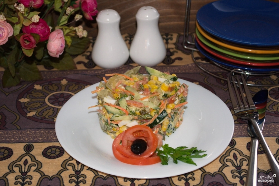 Салат с салями и кукурузой - фото шаг 7
