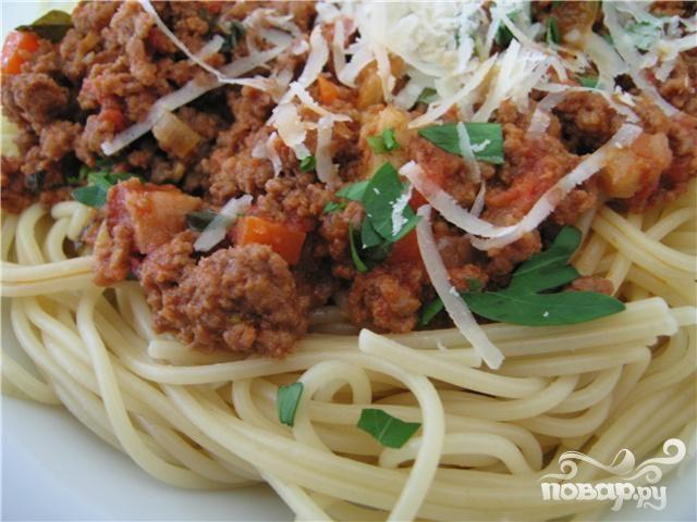Рецепт Запеченные спагетти с говяжьим фаршем