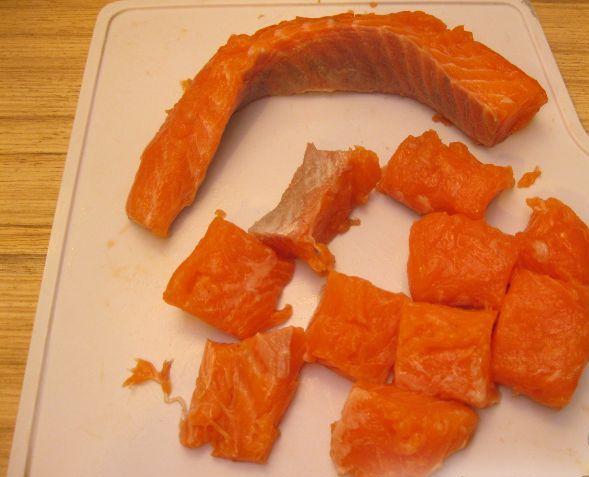 Рецепт Шашлык из семги на сковороде