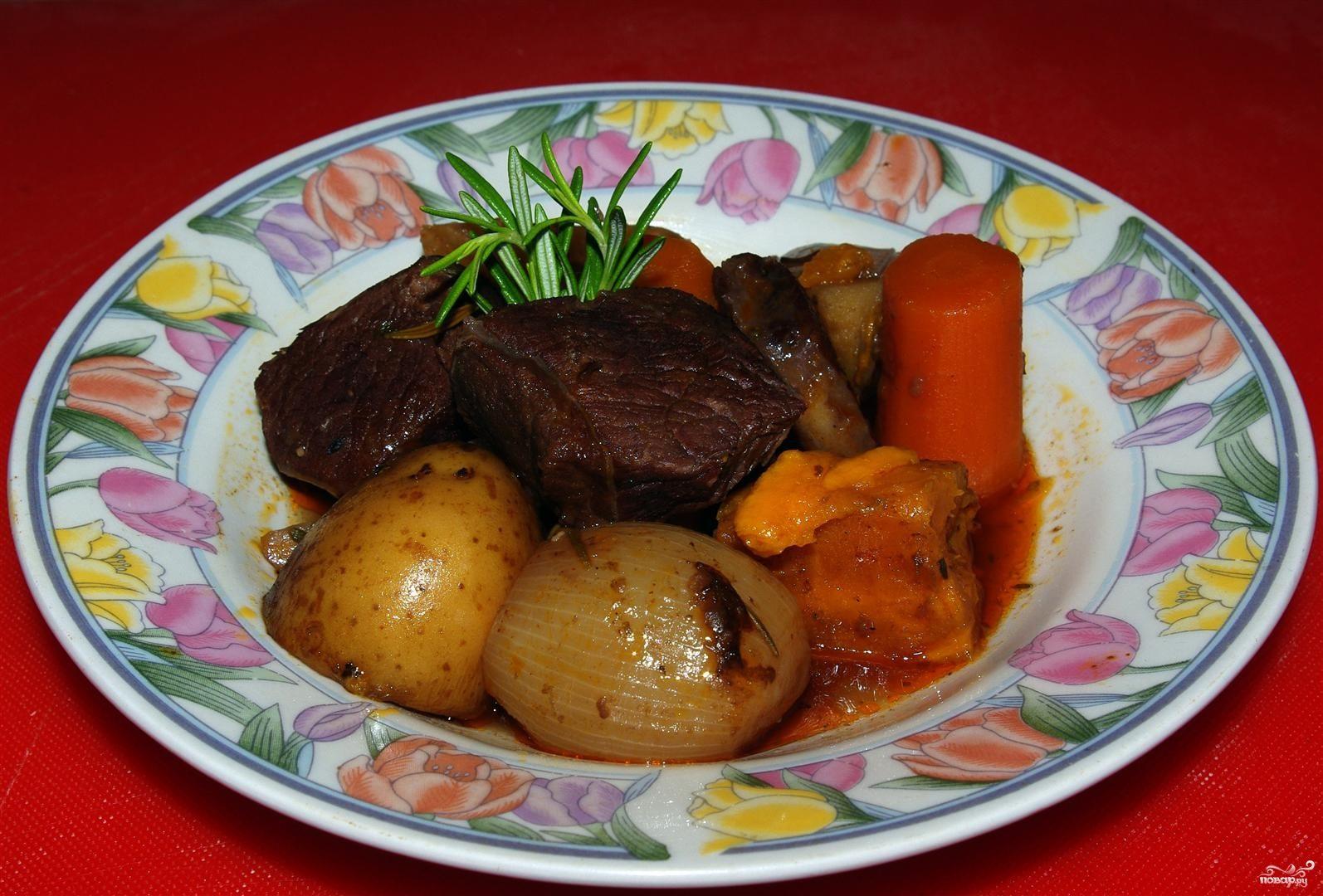 Говядина и овощи в казане