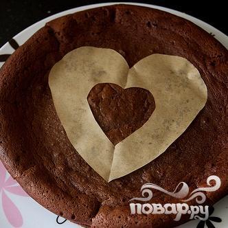 Шоколадный пирог с сердцем - фото шаг 6
