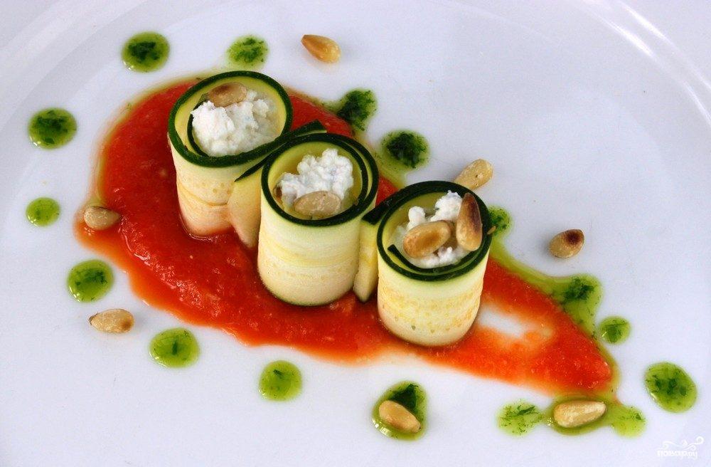 Рецепт Канапе с кабачком и творогом