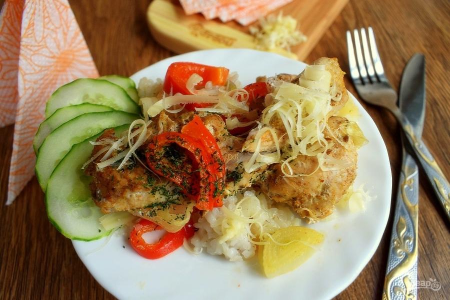 рис с овощами и курицей в духовке