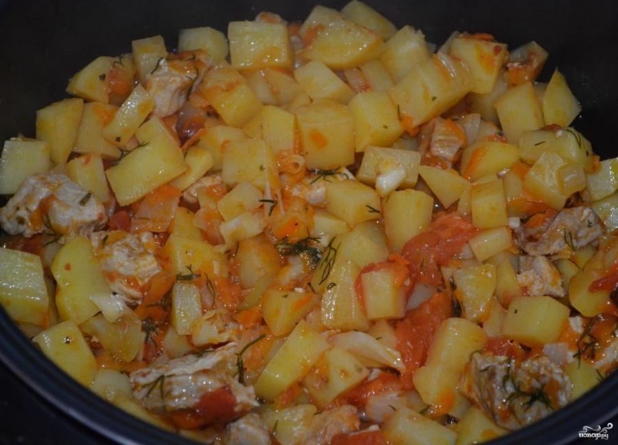 картошка с мясом в режиме выпечка в мультиварке