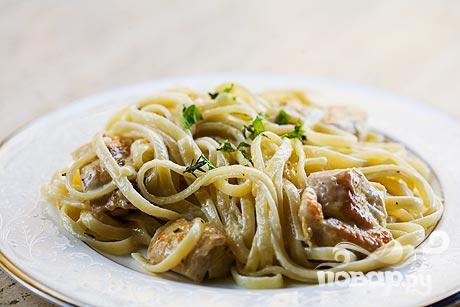 Рецепт Паста с курицей и мятным сливочным соусом