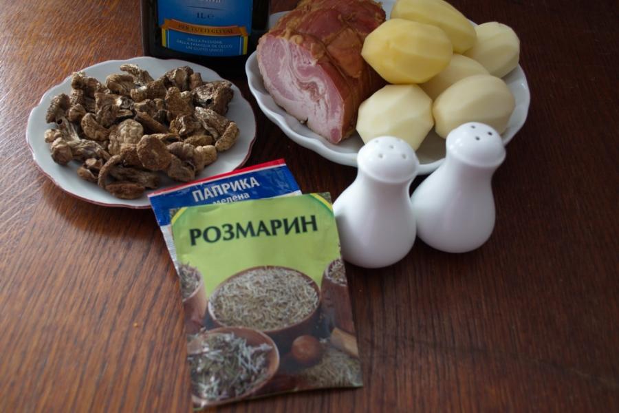 Рецепт Картофель в духовке с белыми грибами и беконом