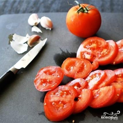 Рецепт Открытый бутерброд с запеченными помидорами, сыром и бальзамическим уксусом