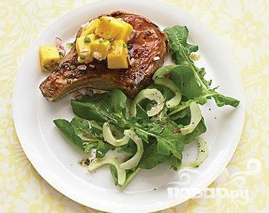 Рецепт Глазированная свинина с сальсой из манго