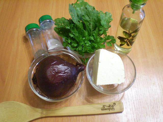 Рецепт Салат из печеной свеклы с брынзой