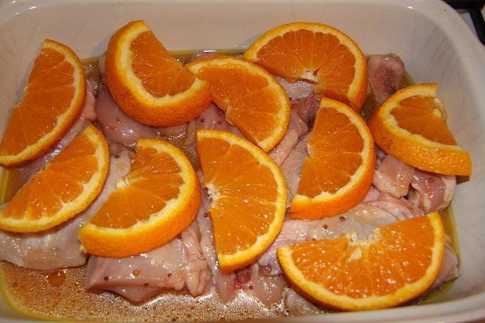 курица с медом и апельсинами в духовке рецепт с фото