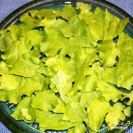 Фото рецепт салата с красной рыбой листья салата