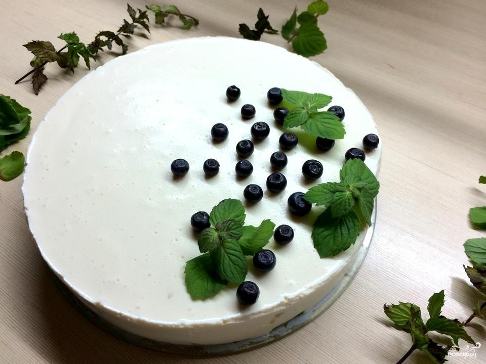 Торт из творога и желатина без выпечки
