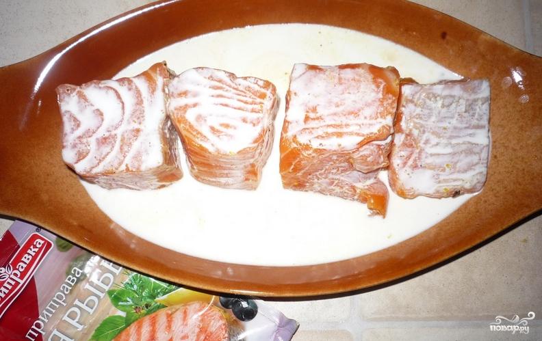 Рецепт Семга кусочками, запеченная в духовке