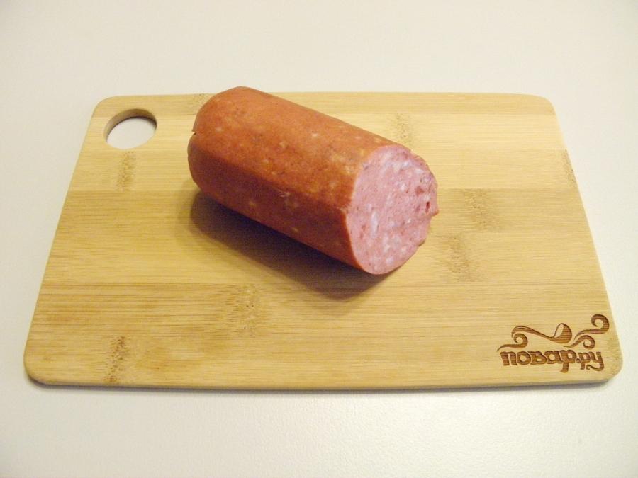 Суп с копченой колбасой - фото шаг 2