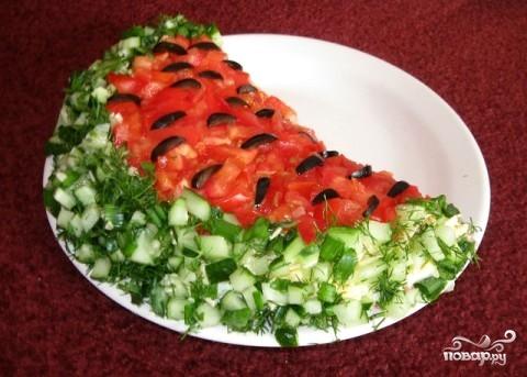 """Рецепт Салат """"Арбузная долька"""" с корейской морковью"""