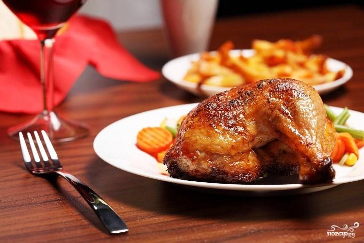 Вкусная жареная курица