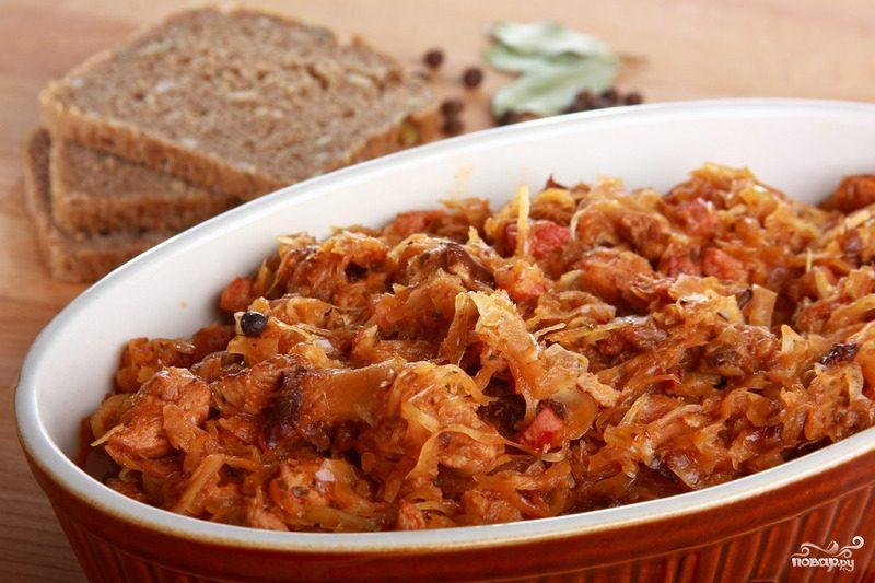 Рецепт Капуста жареная с грибами