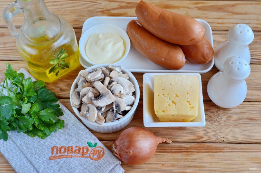 Сардельки, фаршированные сыром и грибами