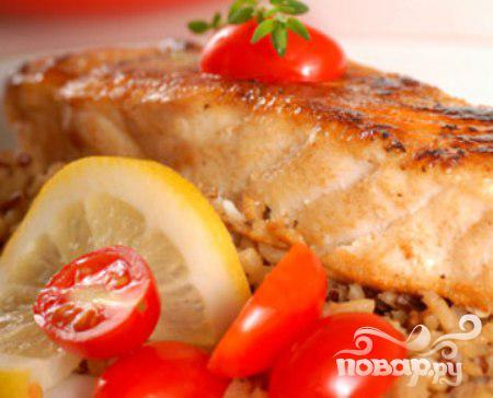 Рецепт Филе трески с помидорами и грибами