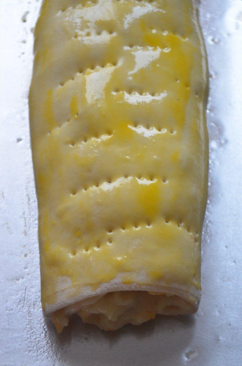 Штрудель с заварным кремом  и фруктами - фото шаг 5