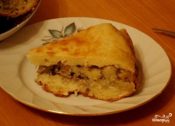 Рецепт Пирог с грибами и картошкой в мультиварке
