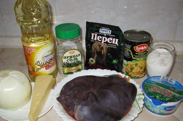 Рецепт Печень говяжья, тушенная в сметане