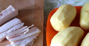 Рецепт Картошка с салом, запеченная в фольге