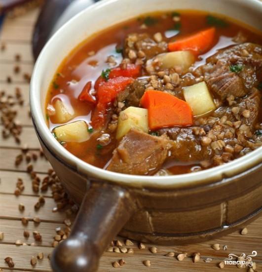 Рецепт Суп гречневый с языком