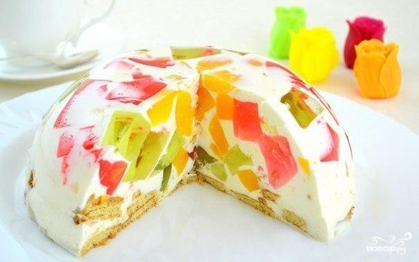 Торт мраморный с желатином