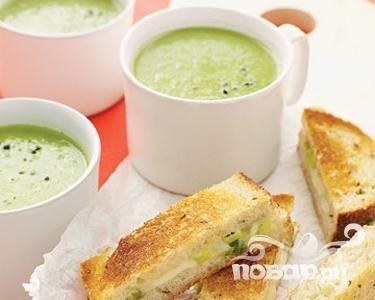 Рецепт Зеленый гороховый суп с хлебцами