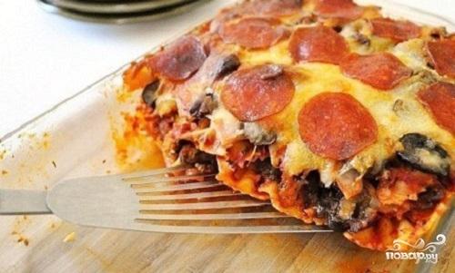 Рецепт Лазанья с колбасой и сыром