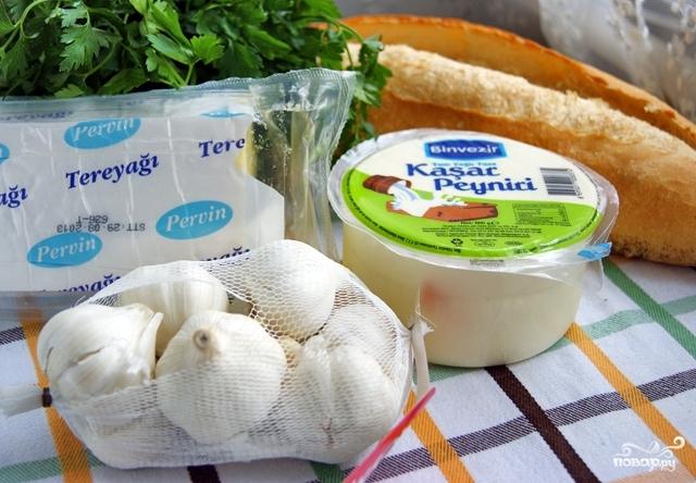 Рецепт Багет с сыром и чесноком