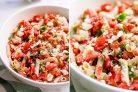Салат с макаронами, овощами и сыром