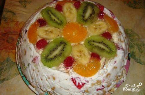 Торт без выпечки с желе