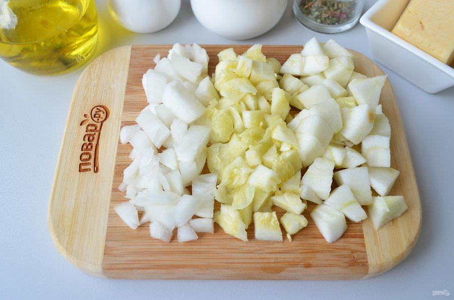 Лодочки из кабачков с яблоками