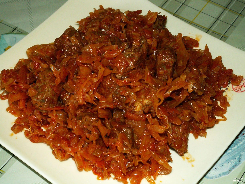 Рецепт Капуста тушеная с курицей