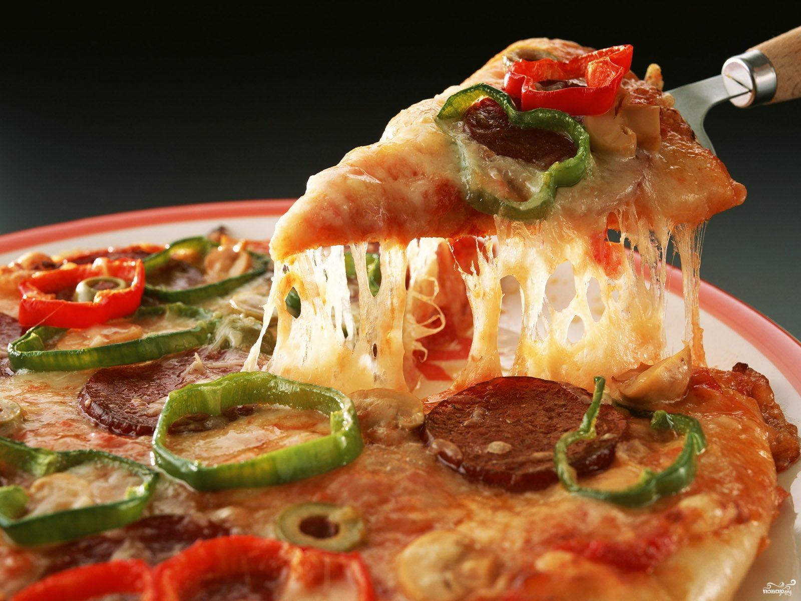 Пицца с колбасой без дрожжей