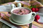 Окрошка Розовая нежность со свеклой и кефиром