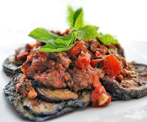 Рецепт Мясо с баклажанами в духовке