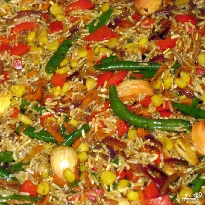 Коричневый рис с овощами - фото шаг 6