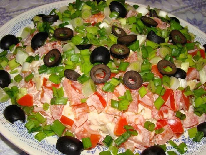 Рецепт Салат из риса, помидоров и огурцов