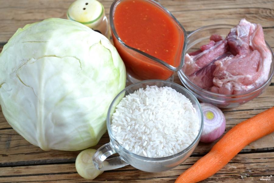 Голубцы, фаршированные мясом и рисом - фото шаг 1