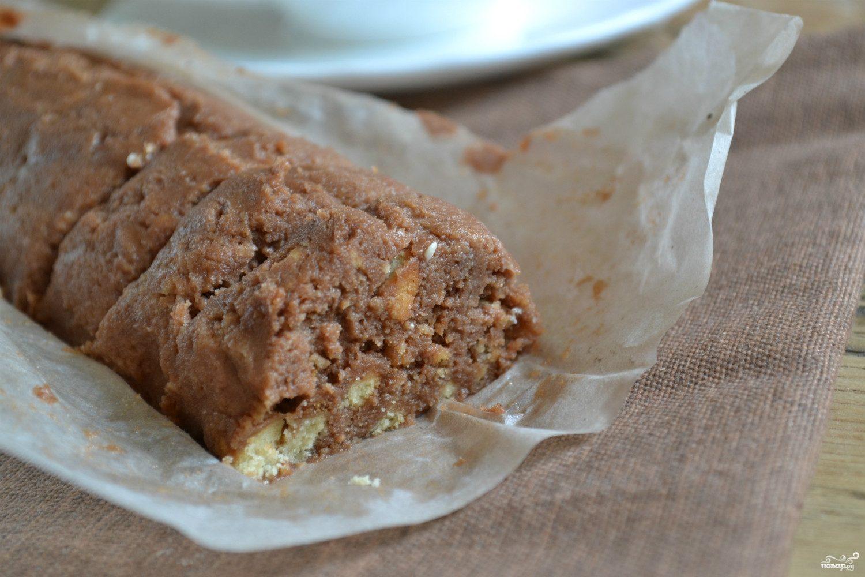 Шоколадные колбаски из печенья пошаговый рецепт с