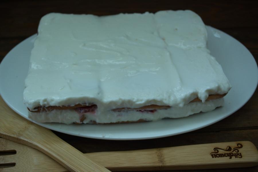 Клубнично-творожный торт без выпечки - фото шаг 9