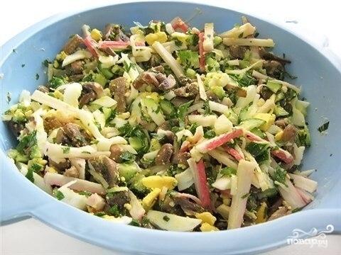 Салат с грибами вешенками - фото шаг 6