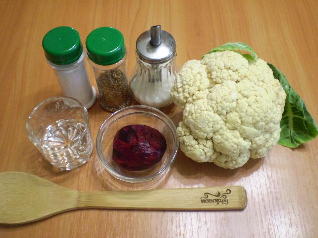 Рецепт Маринованная цветная капуста со свеклой