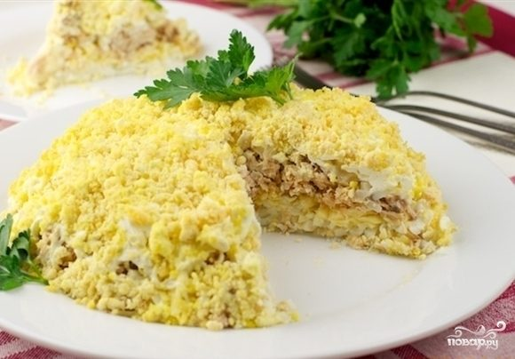 салат мимоза с печенью трески рецепт и фото