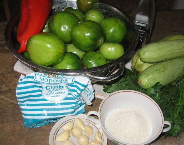 Рецепт Кабачки с помидорами на зиму