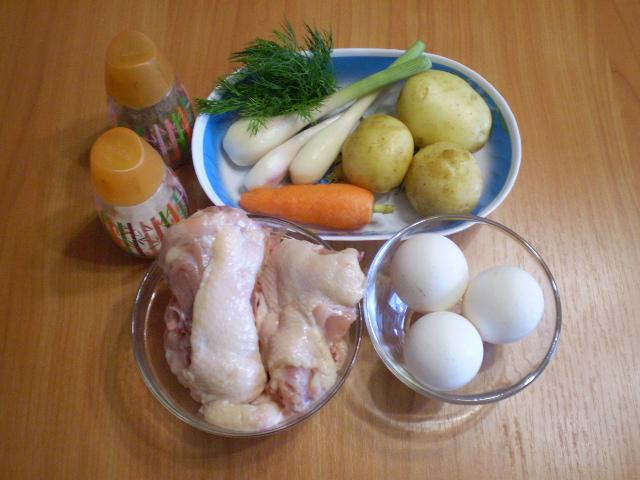 Яичный суп с курицей - фото шаг 1